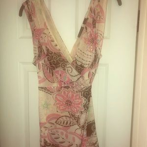 Pink, brown and beige sleeveless blouse